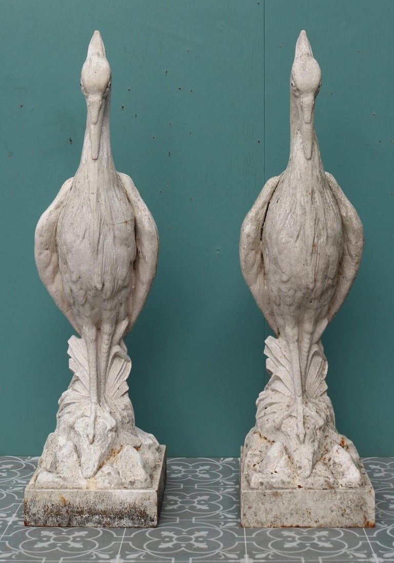 19th Century Two Antique Cast Iron Heron Sculptures For Sale