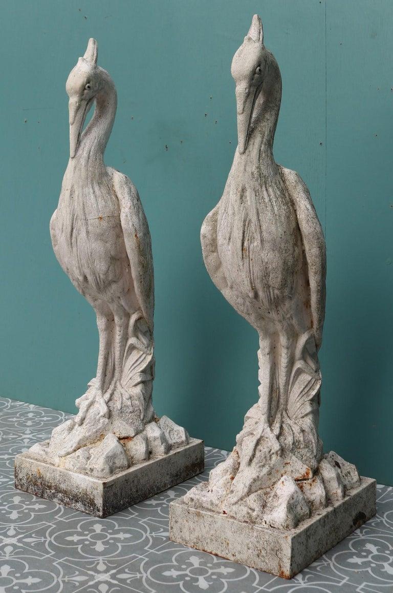 Two Antique Cast Iron Heron Sculptures For Sale 1
