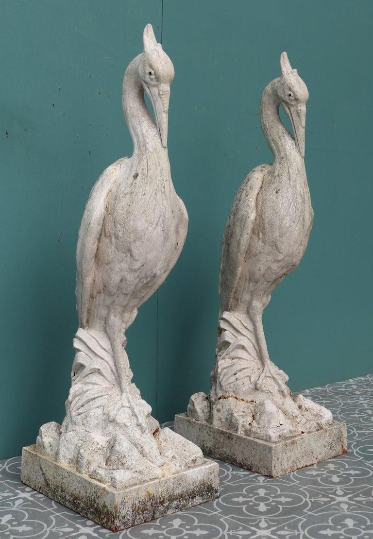 Two Antique Cast Iron Heron Sculptures For Sale 2