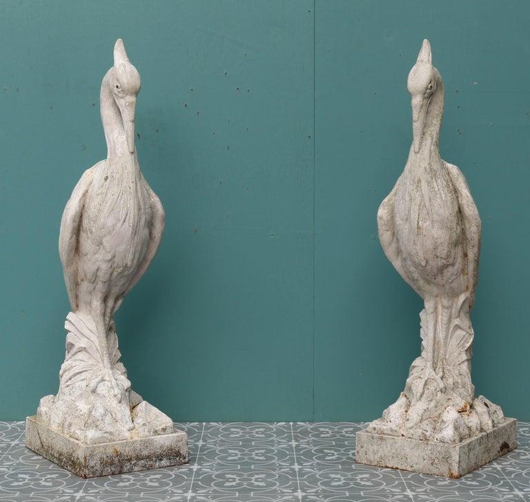 Two Antique Cast Iron Heron Sculptures For Sale 3