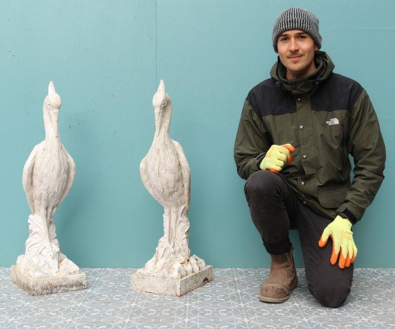 Two Antique Cast Iron Heron Sculptures For Sale 4
