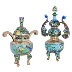 Two Antique Chinese Silver Mounted Enamel Incense Burners