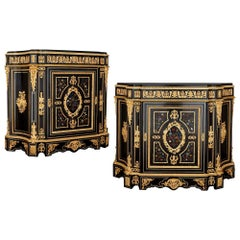 Two Antique Ebonized Wood and Ormolu Cabinets with Hardstone Pietra Dura Inlay