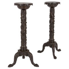 Two Antique Floral Carved Wooden Pedestals
