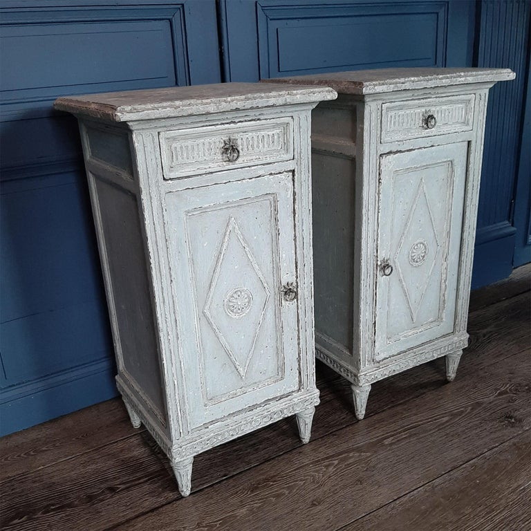Patinated Two Antique French Directoir Cabinets or Nightstands, 19th Century For Sale
