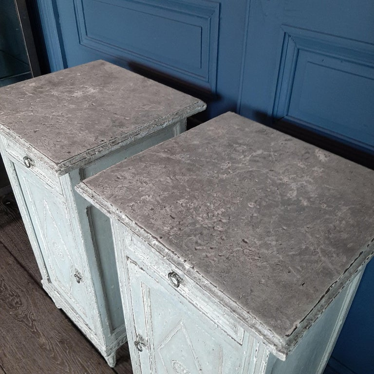 Wood Two Antique French Directoir Cabinets or Nightstands, 19th Century For Sale