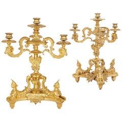 Two Antique French Gilt Bronze Four-Light Girandoles