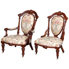 Two Antique French Victorian Renaissance Revival Carved Walnut Parlor Chairs