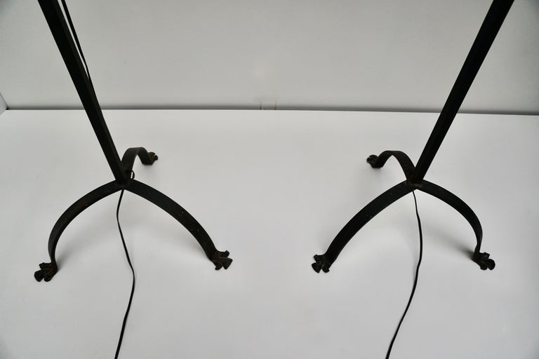 Two Antique French Wrought Iron Floor Lamp 3 Candle Candelabra Castle Lighting In Good Condition For Sale In Antwerp, BE