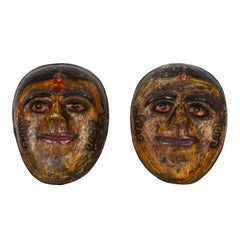 Two Antique Indian Papier-Mâché Hand Painted Face Masks Depicting Brides