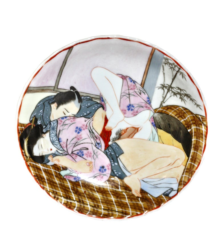Ceramic Two Antique Japanese Shunga 'Erotica' Works of Art For Sale