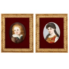 Two Antique Kpm Painted Porcelain Plaques in Giltwood Frames
