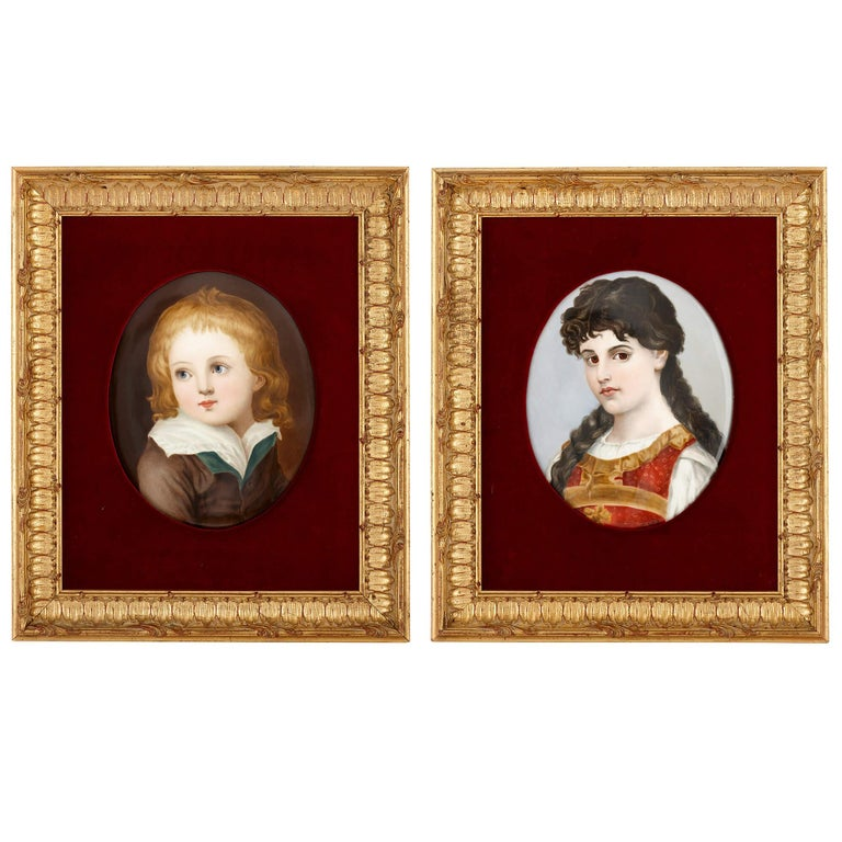 Two Antique Kpm Painted Porcelain Plaques in Giltwood Frames For Sale