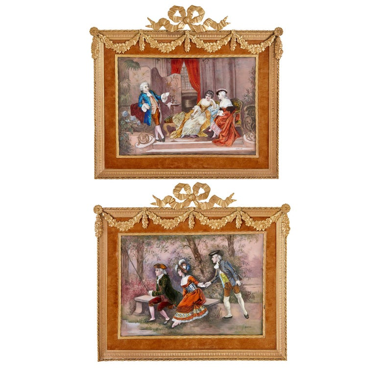 These exquisite paintings were created in Limoges, a town in south-west France, in the late 19th Century. The Renaissance period saw the art of enamel painting thrive in Limoges. The skills perfected in the 15th-Century were then revived in the 19th