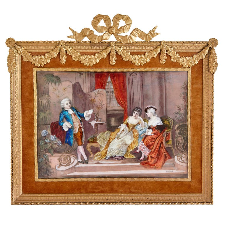 Rococo Two antique Limoges enamel paintings in gilt metal frames  For Sale