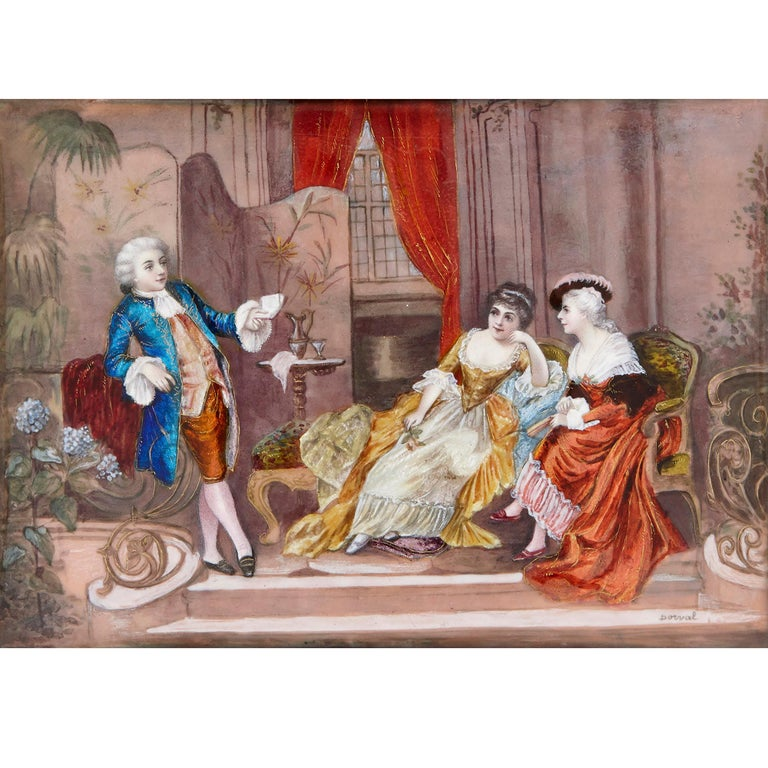 French Two antique Limoges enamel paintings in gilt metal frames  For Sale
