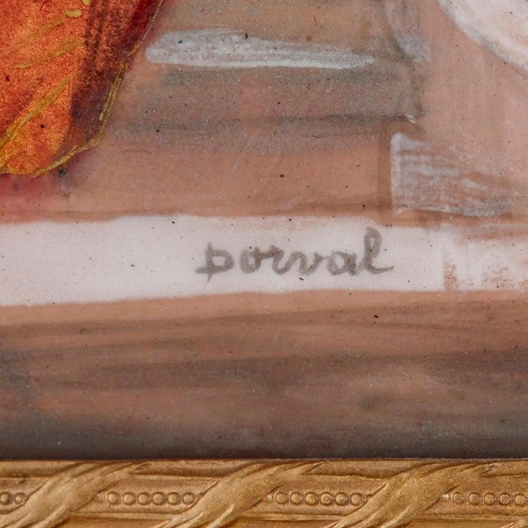 Gilt Two antique Limoges enamel paintings in gilt metal frames  For Sale