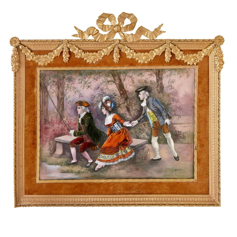 Two antique Limoges enamel paintings in gilt metal frames  In Good Condition For Sale In London, GB