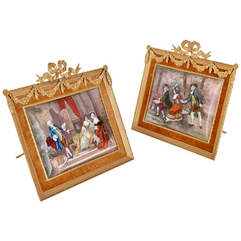 Two antique Limoges enamel paintings in gilt metal frames  For Sale