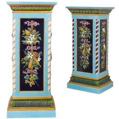 Two antique majolica pedestals by Minton