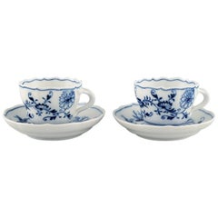 Two Antique Meissen Blue Onion Coffee Cups with Saucers in Porcelain