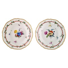 Two Antique Meissen Deep Plates in Pierced Porcelain with Floral Motifs