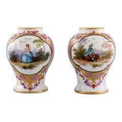 Two Antique Meissen Miniature Vases in Porcelain with Romantic Scenes, 19th C