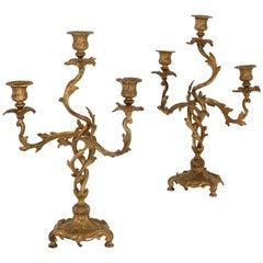Two Antique Rococo Style Gilt Bronze Candelabra