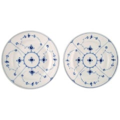 Two Antique Royal Copenhagen Blue Fluted Lunch Plates, Mid-1800s