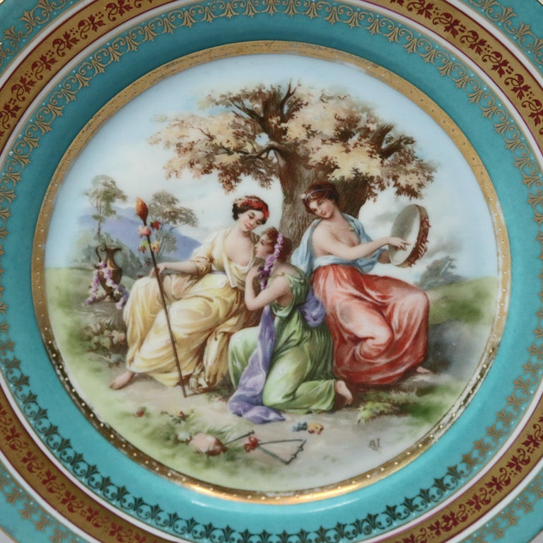 Classical Greek Two Antique Royal Vienna Porcelain Plates, Classical Muses, circa 1890 For Sale