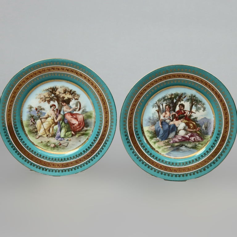 Hand-Painted Two Antique Royal Vienna Porcelain Plates, Classical Muses, circa 1890 For Sale