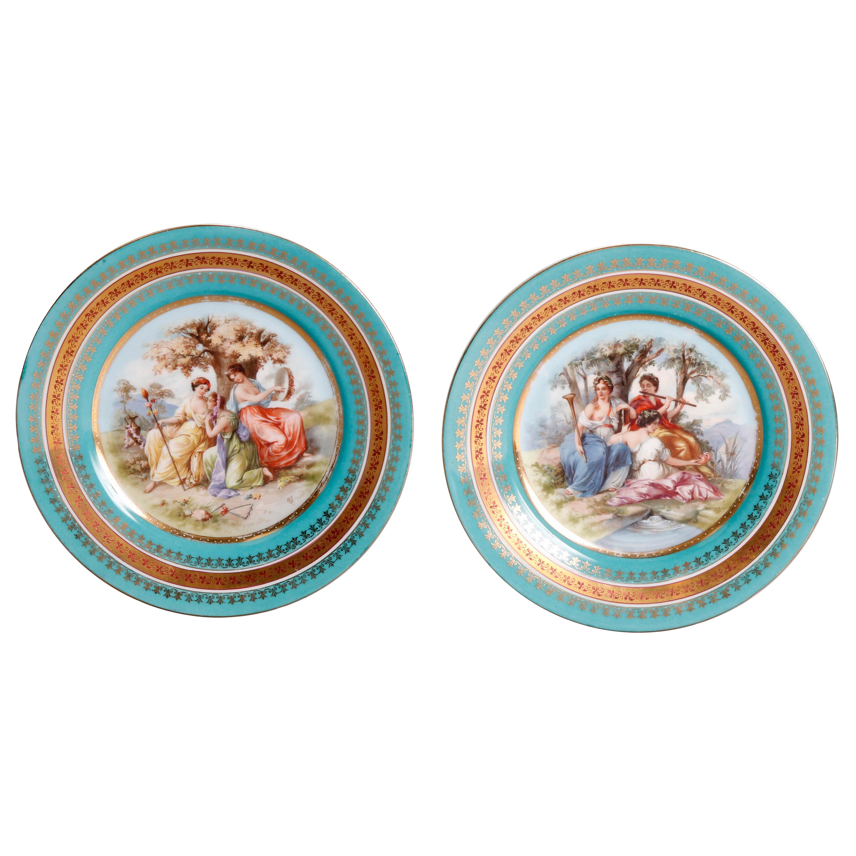 Two Antique Royal Vienna Porcelain Plates, Classical Muses, circa 1890