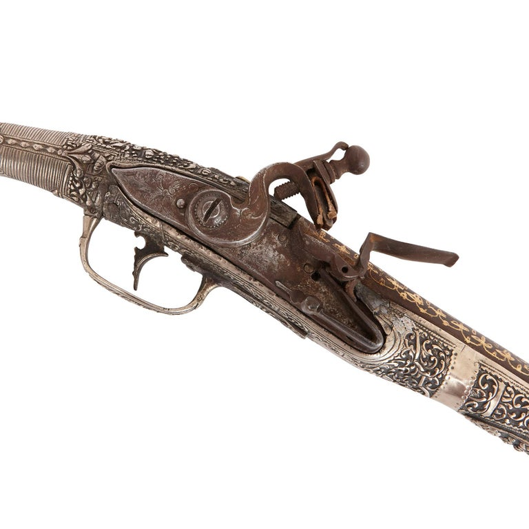 These pistols have been beautifully decorated with finely chased and engraved silver, and gold-damascened work. They were crafted in South-Eastern Europe in the 19th century. The pistols are collectable, decorative pieces, which will look beautiful