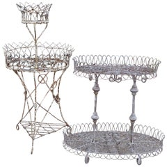 Two Antique Victorian Wire Work Plant Stands