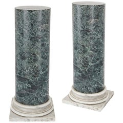 Two antique white and green marble column pedestals