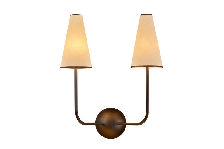 French Two-Arm Black Wall Lamp in the Style of Jean Royère