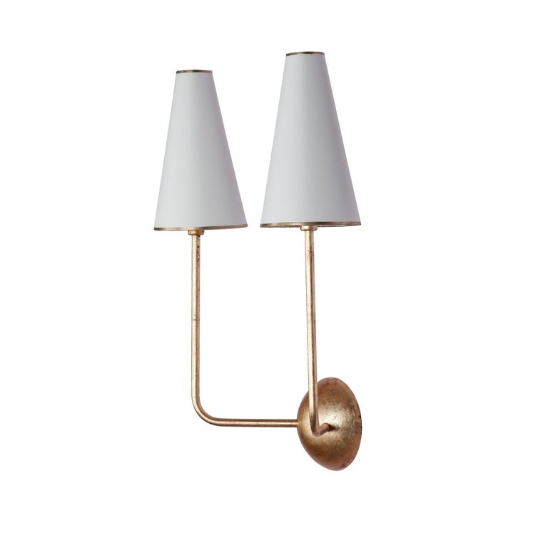 Metal Two-Arm Black Wall Lamp in the Style of Jean Royère