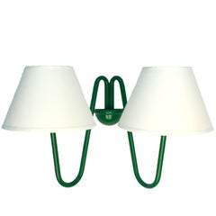 Two-Arm 'Bouquet' Green Wall Lamp in the Style of Jean Royère