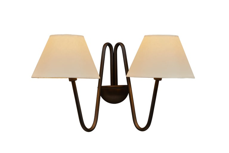 Two-Arm 'Bouquet' Red Wall Lamp in the Style of Jean Royère In New Condition In Glendale, CA