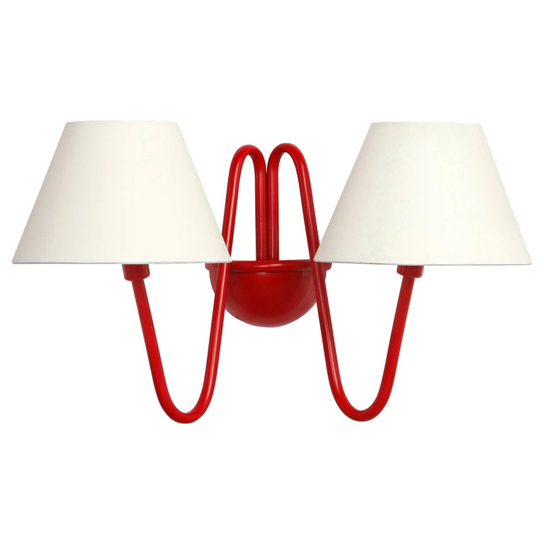 Two-Arm 'Bouquet' Red Wall Lamp in the Style of Jean Royère