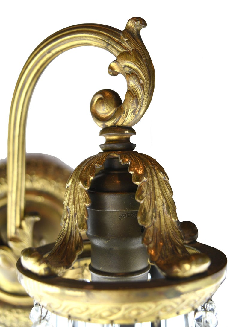 Two-Arm Brass Sconce with Crystal Prisms In Good Condition For Sale In Minneapolis, MN
