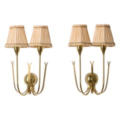 Two-Arm Brass Wall Lights, 1940s