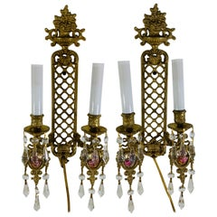 Two Arm Brass Wall Sconce in the Style of Louis XVI, a Pair