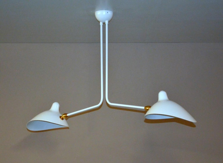 Mid-Century Modern Two-Arm Ceiling Lamp by Serge Mouille in White For Sale