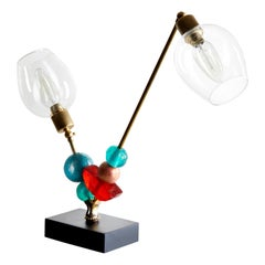 Two-Arm Table Lamp in Brass with Green, Amber and Turquoise by Margit Wittig