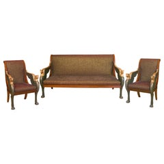 Two Armchairs and Settee of French, Empire Period