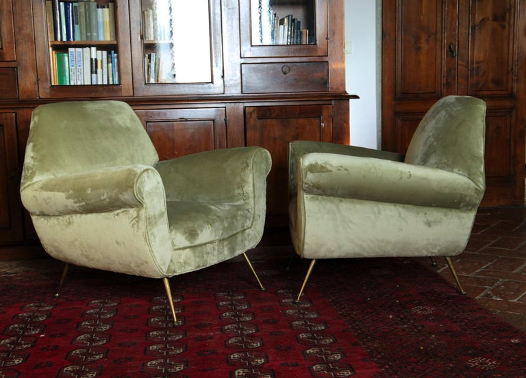 Two Armchairs Gigi Radice for Minotti Fully Restored High Pile Cotton Velvet 3