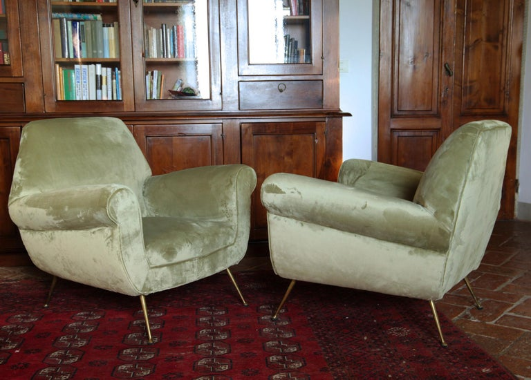 Two Armchairs Gigi Radice for Minotti Fully Restored High Pile Cotton Velvet 6