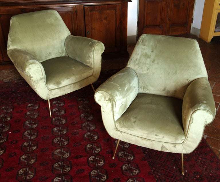 Two Armchairs Gigi Radice for Minotti Fully Restored High Pile Cotton Velvet 7