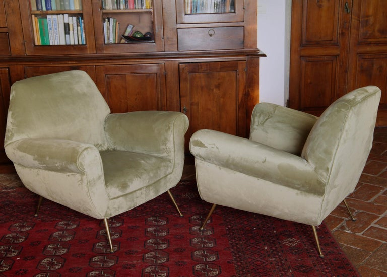 Two Armchairs Gigi Radice for Minotti Fully Restored High Pile Cotton Velvet 11